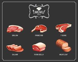 Verschiedene Fleischsorten auf der Speisekarte vektor