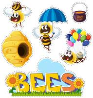Aufkleberentwurf mit Bienen und Bienenstock vektor