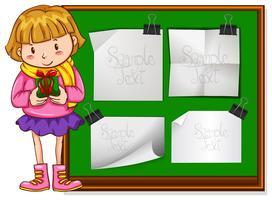Gränsdesign med tjej och gåva vektor