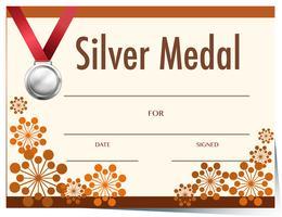 Certifikatmall med silvermedalj vektor