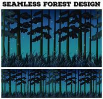 Nahtloser Hintergrund mit Wald nachts vektor