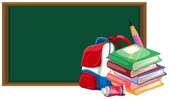 Blackboard och skolväska med böcker vektor