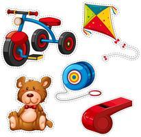 Aufkleberdesign mit Dreirad und anderem Spielzeug
