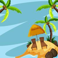 Hintergrundschablone mit Stühlen auf Insel