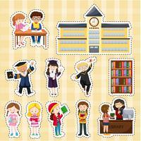 Klistermärke design med elever och skolbyggnad vektor