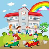 Kinder, die auf dem Schulgebiet spielen vektor