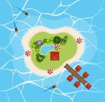 Flygfoto över ön i havet vektor