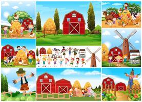 Barn och fågelskräm i gård vektor