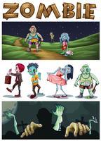 Zombietema med zombier som går i parken på natten vektor
