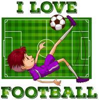 Pojke i sportkläder som spelar fotboll vektor