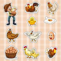 Klistermärke design för bonde och kycklingar vektor