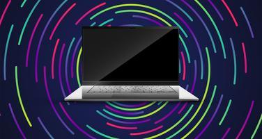 Ein realistischer Computer mit einem bunten Hintergrund, vektorabbildung