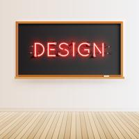 Neon word tecken på en realistisk svart tavla, vektor illustration