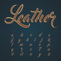 Realistisk läder teckenuppsättning, vektor illustration