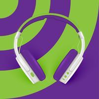 Realistische Kopfhörer, mit Drähten auf einem bunten Hintergrund, Vektorillustration