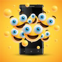 Realistische glückliche gelbe Emoticons vor einem Mobiltelefon, Vektorillustration