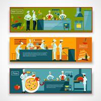 Matlagningsmänniskor Banner Set vektor