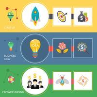 Startup crowdfunding platt horisontal bannersats vektor