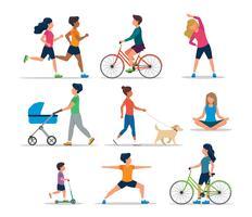 Människor gör olika utomhusaktiviteter, isolerade. Running, på cykel, på scooter, går hunden, tränar, mediterar, går med barnvagn. Vektor illustration av hälsosam livsstil.