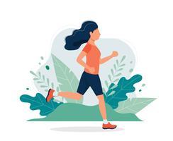 Glad kvinna som kör i parken. Vektor illustration i platt stil, koncept illustration för hälsosam livsstil, sport, träning.