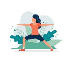 Glad kvinna som tränar i parken. Vektor illustration i platt stil, koncept illustration för hälsosam livsstil, sport, träning.