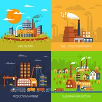 Industriella fabriker och växter Flat Set