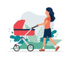 Glad kvinna med en barnvagn i parken. Vektor illustration i platt stil, koncept illustration för hälsosam livsstil, moderskap.