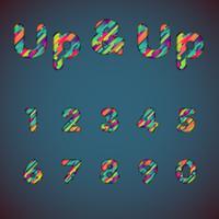 'Upp och upp' färgstarka teckensnitt med skuggor | 3D-effekt | Vektor illustration