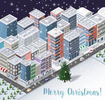 Jul vinter stad bakgrund d vektor