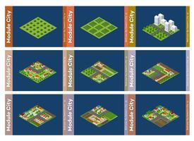 Sats med stadsområden av moduler