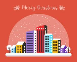 Städtisches Dorf Weihnachten geschmückt vektor