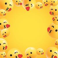 Grupp av hög detaljerade gula uttryckssymboler, vektor illustration