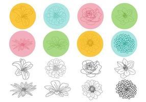Umrissene Blumenvektorpackung