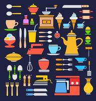En uppsättning köksredskap i olika färger