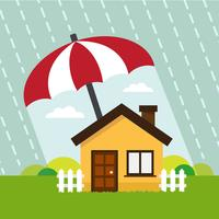 Haus unter Schutz des Regenschirms vektor