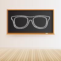 Hohe ausführliche schwarze Tafel mit Bretterboden und gezogenen Brillen, Vektorillustration vektor