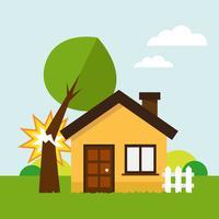 Haus und gebrochener Baum vektor