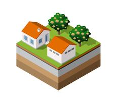 Land Bauernhof Bäume vektor