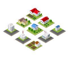 Gårdsuppsättning hus vektor