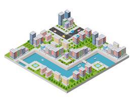 Isometrisk illustration av en stad vattnet