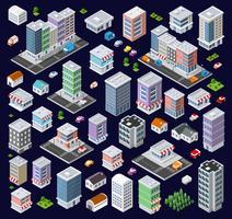 Set moderne isometrische Gebäude