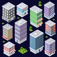 Set av moderna isometriska byggnader