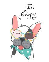 Handzeichnung einer lächelnden glücklichen Stierhundeabnutzungsmodebrille mit bin ich glückliche Wörter