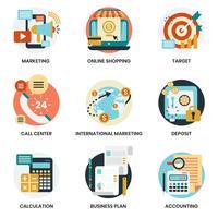 Affärsymboler som ställs för affärer, marknadsföring