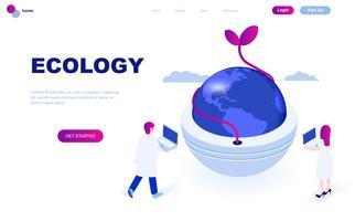 Modernt plandesign isometrisk koncept för ekologi jorden