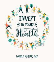 Världshälsodagens människor som leder en aktiv hälsosam livsstil. vektor