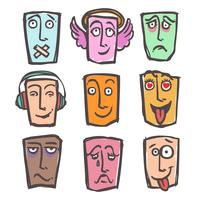 Skizze Emoticons Farbsatz vektor