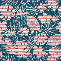 Nahtloses exotisches Muster mit tropischem Anlagen- und Streifenhintergrund.