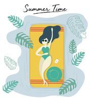 kvinna bär solglasögon garvning på poolen på sommaren vektor funky stlye