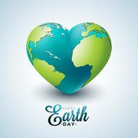 Tag der Erde-Illustration mit Planeten im Herzen. Weltkartehintergrund am 22. April Umweltkonzept.